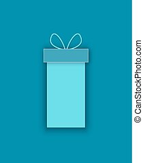 Vector Package Box, Bow on Top Decoration Surprise
