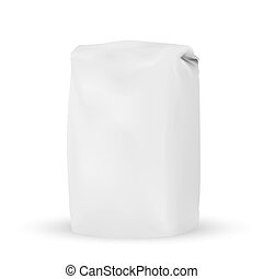 VECTOR PACKAGING: Blank white gray packaging bag for bulk products, salt, tea, coffee, spices on isolated white background. Mock-up template ready for design