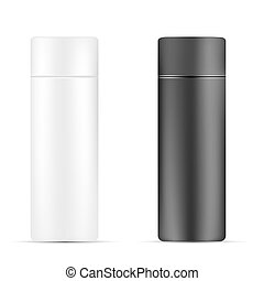 VECTOR PACKAGING: Set of White and black beauty/cosmetic product bottle on isolated white background. Mock-up template ready for design