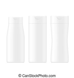 VECTOR PACKAGING: SET of white gray beauty products/cosmetics bottle on isolated white background. Mock-up template ready for design