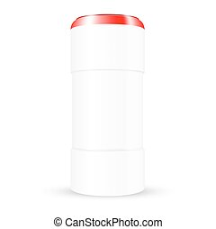 VECTOR PACKAGING: White plastic round container with red cap on isolated white background. Mock-up template for design.