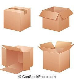 Vector cardboard shipping boxes in many positions.