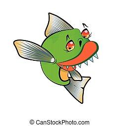 vector., pacu, aggressivo, manifesto, disegnare elemento, simbolo, camicia, piranha, isolare, bandiera, cartone animato, illustrazione, t, pesce bianco, emblema, divertente, fondo.
