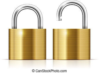 Vector Padlock Icon - Locked and unlocked Padlock Icon...