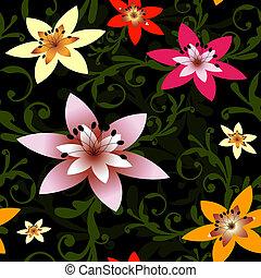(vector), padrão, abstratos, seamless, pretas, floral