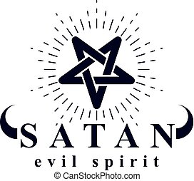 Vector pagan symbol, pentacle created with Satan...