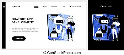 vector, page., app, chatbot, desarrollo, concepto, ...
