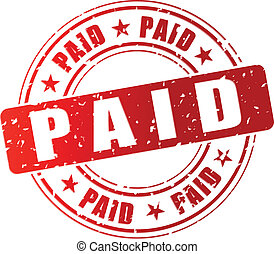 Vector illustration of red paid stamp icon