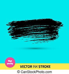 Vector paint brush. Ink stroke, paint splash. Grunge watercolor broad brush stroke. With color abstract background. Very good details.
