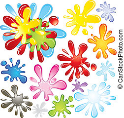 Vector Paint Elements - Colorful paint or ink splashes,...