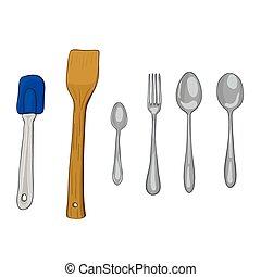 Vector paint illustration of kitchen utensils