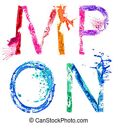 Vector paint splash font M,N,O,P