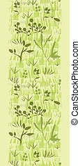 Vector paint textured green plants vertical seamless pattern background border with hand drawn elements
