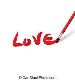Vector paintbrush paints heart