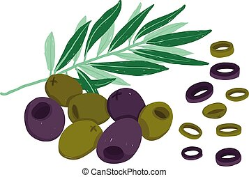 Vector painterly black and green olives.