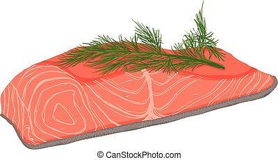 Vector painterly set of raw salmon fish fillet.