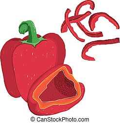 Vector painterly set of red bell pepper, raw and in...