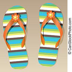 pair of flip flops - vector pair of flip flops with flowers