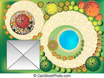 vector, paisaje, plan, con, copa del árbol