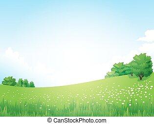 vector, paisaje verde, árboles