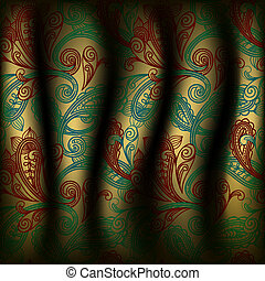 vector paisley curtain background - eps10, vector paisley...