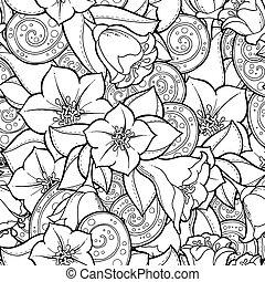 vector, paisley., plano de fondo, flores, seamless, doodles