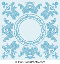 vector paisley square pattern in blue, place for your text