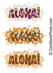 vector, palabra, ilustración, aloha