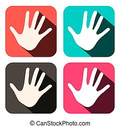 Vector Palm Hands Icons in Rounded Squares Set