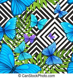 Vector palm leaves tropical pattern with blue butterfly, black and white geometric background