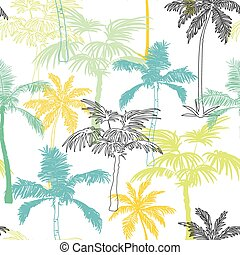 Vector Palm Trees California Grey Blue Yellow Seamless Pattern