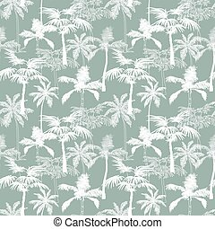 Vector Palm Trees California Grey Texture Seamless Pattern Surface Design With Exotic, Decorative, Hand Drawn Palms.