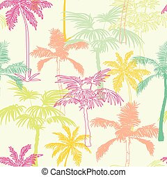 Vector Palm Trees California Pink Green Yellow Seamless Pattern Surface Design With Exotic, Decorative, Hand Drawn Plants.