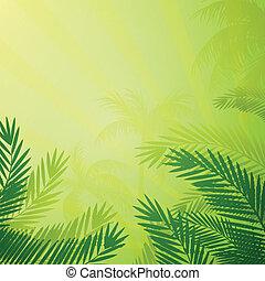 vector, palma, plano de fondo, árboles