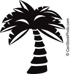 vector, palmera, silueta