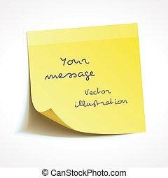 vector, palo, nota amarilla