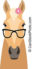 Vector palomino flat style horse head in sunglasses wearing flower