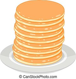 vector pancake stack isolated on white background. morning breakfast food background with sweet pancakes.on a plate
