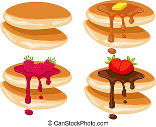 vector pancake stack isolated on white background. pile of pancakes with strawberry, raspberry and blueberry berries, honey and butter on top. morning breakfast food background with sweet pancakes