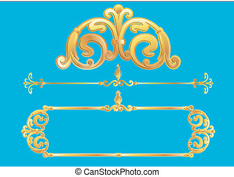 Vector panels design with scrolls