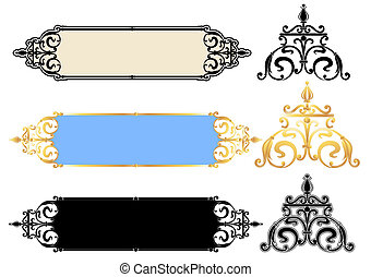 Vector panels design with scrolls - Vector panels-design...