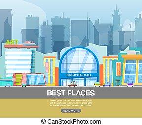 vector, panorama, estacionamiento, centro, moderno, emporio, illustration., alameda, ciudad, terreno, mejor, compras, arte, conveniencia, gallery., edificio, cliente, tiendas, places.