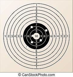 vector, papel, blanco del rifle, con, agujeros de bala
