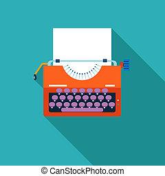vector, papel, creatividad, máquina de escribir, plano de ...