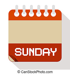 vector, papel de domingo, calendario, ilustración