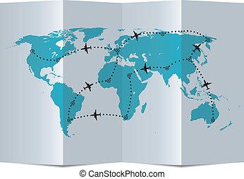 vector, papel, mapa, con, avión, trayectorias de vuelo