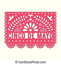 Vector Papel Picado greeting card with floral and decorative elements.