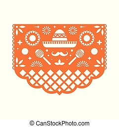 Vector Papel Picado greeting card with floral pattern.
