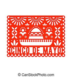 Vector Papel Picado greeting card with sombrero and decorative elements.
