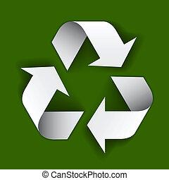 vector, papel, reciclar el símbolo